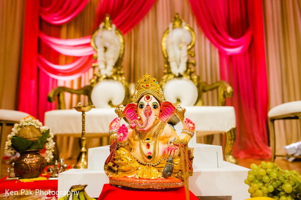 A statue of Ganesha in front of the stage