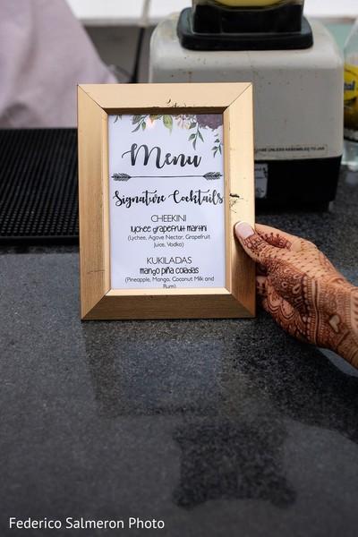 Golden frame for Indian wedding menu.