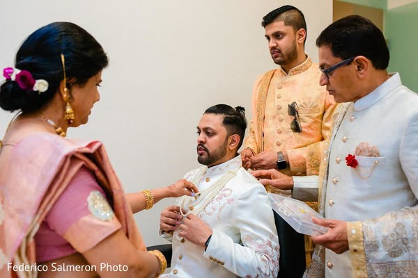 Indian groom getting ready for his wedding ceremony.