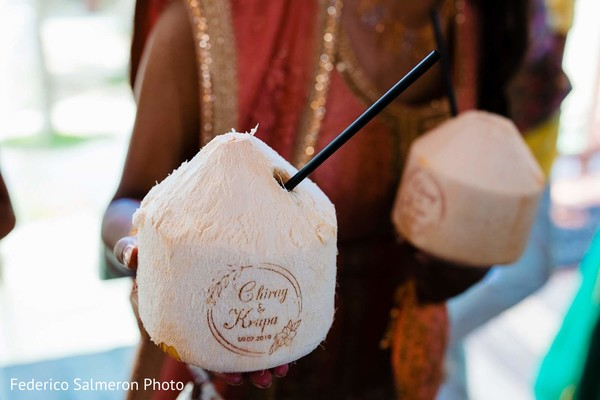 Indian wedding personalized coconut wedding drinks.
