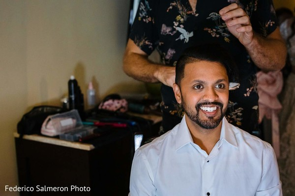 Indian groom getting ready for his big day.