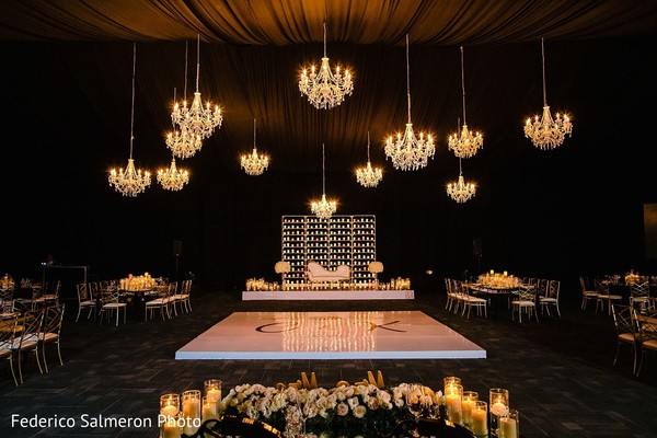 Incredible Indian wedding dance floor and stage decor.