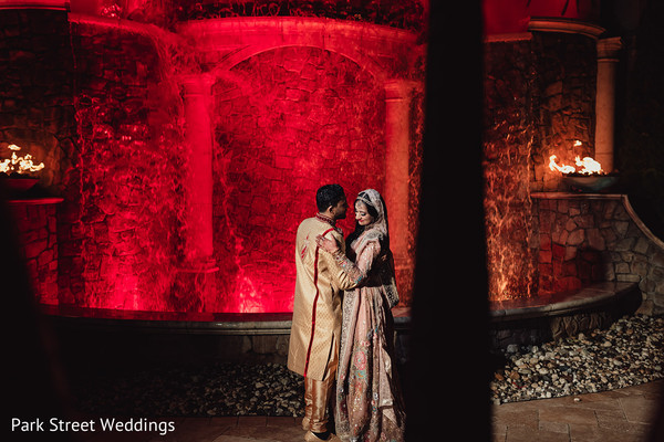 Newlywed Indian couple dancing alone