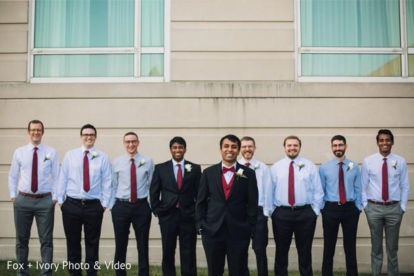 Indian groom posing with Groomsmen.