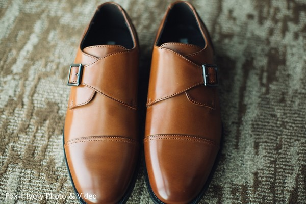 Indian groom's shoes to be used at the ceremony.