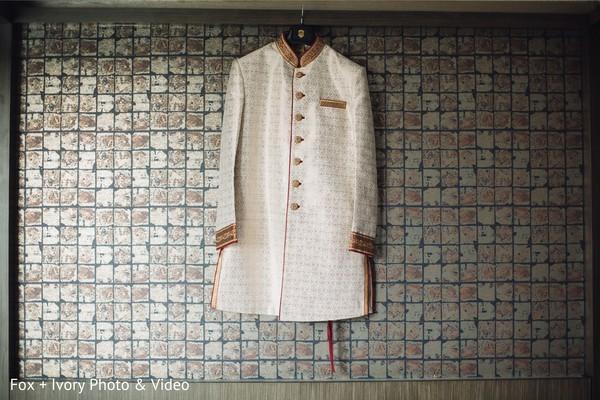 Indian wedding ceremonial attire details.