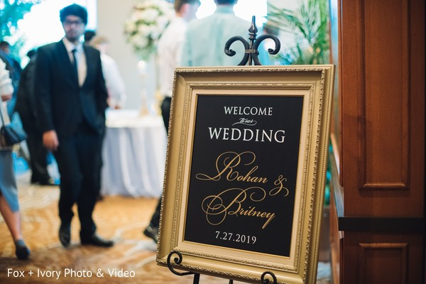 Indian bride and groom's welcome message.