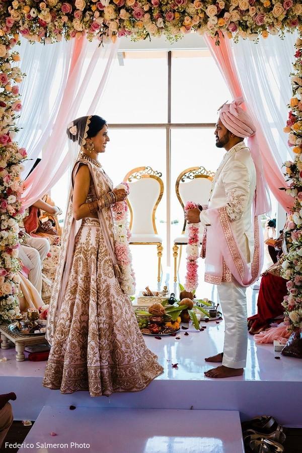 Maharani and rajah at their ceremony jaimala rituals.