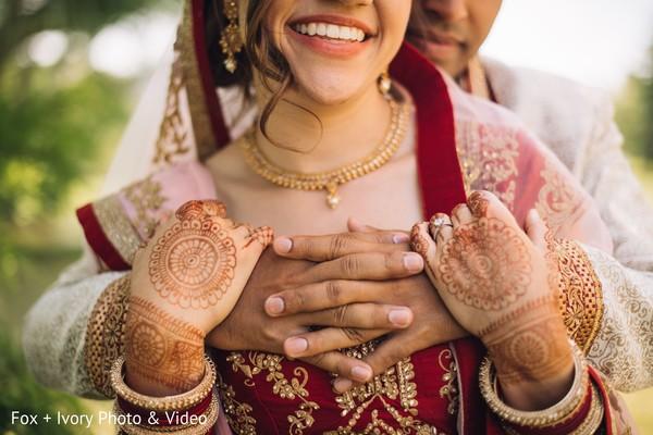 Indian bride's mehndi design details.