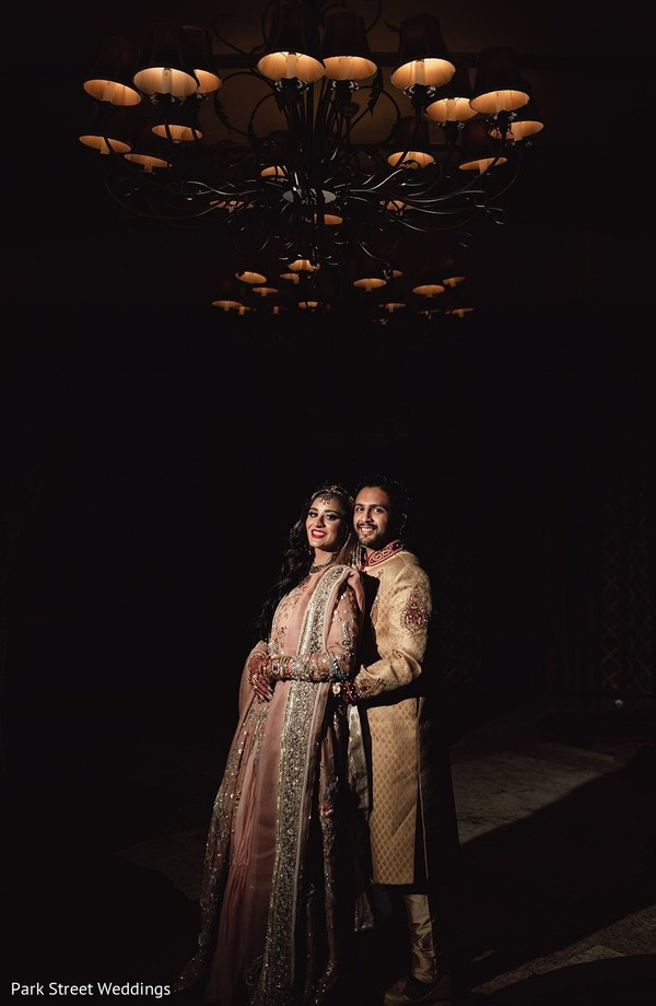 Indian newlywed couple at the reception hall