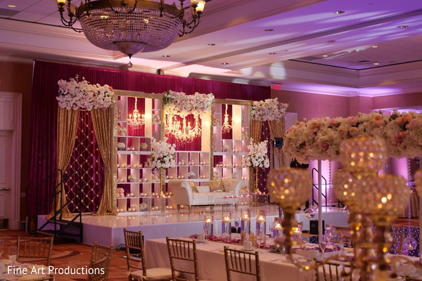 Overview of the Indian wedding venue decor.