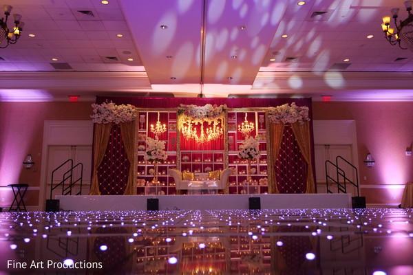 Purple lighting decor for the Indian wedding reception.