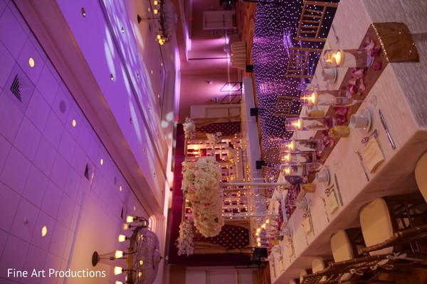 Indian wedding reception table setup details.