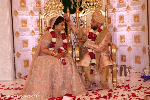 Maharani and Indian groom during the ceremonial rituals.