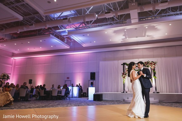 Indian couple dancing in the reception.