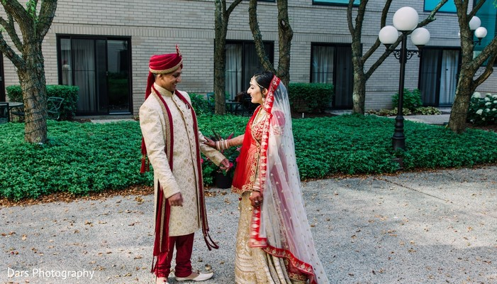 Indian couple candid first look.
