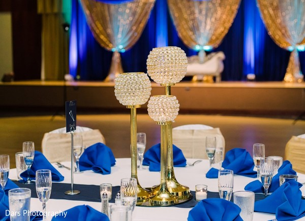 White and blue Indian wedding reception colors.