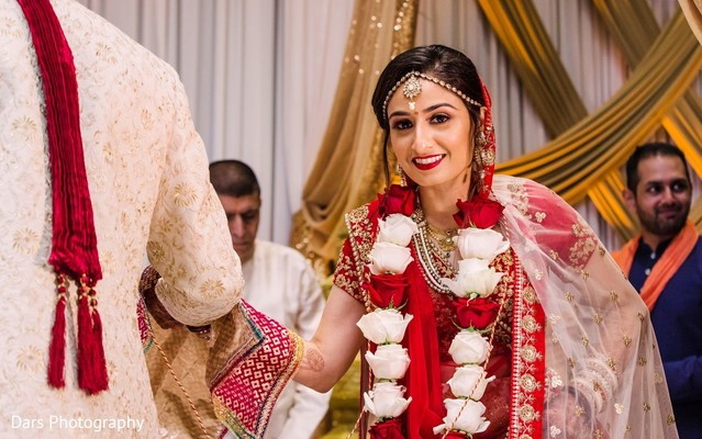 Indian bride tying the knot.