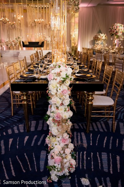 The tables at the reception hall