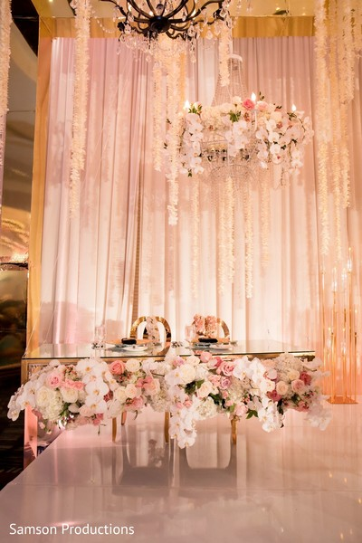 A decorated table on stage