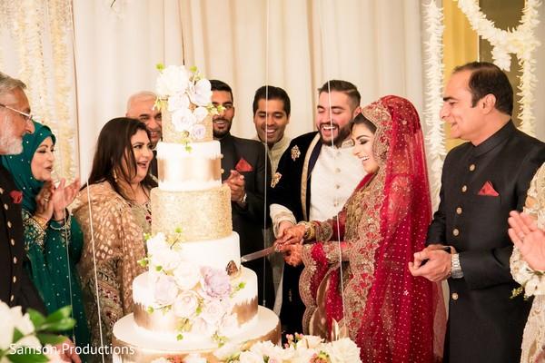 Indian newlyweds cutting a piece of cake