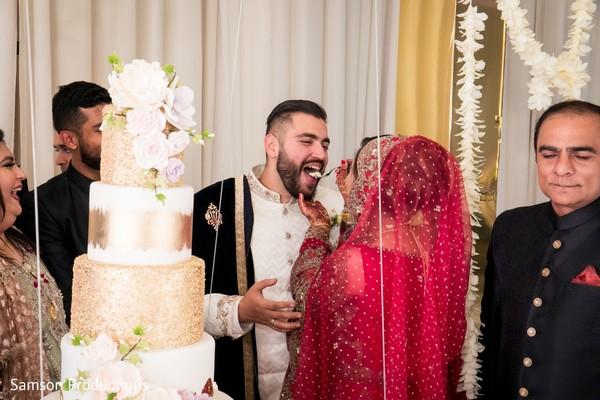 Maharani feeding cake to her Indian groom