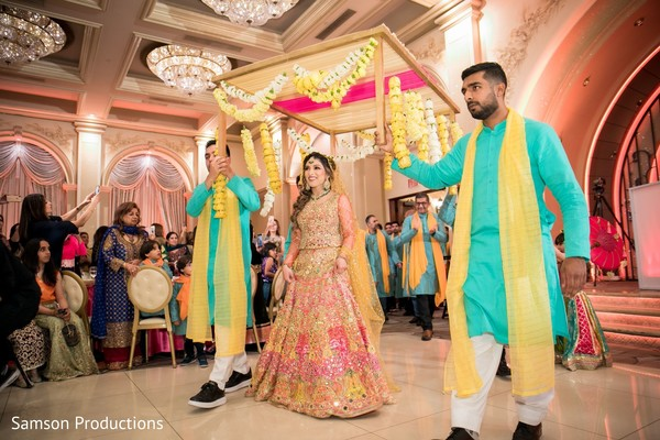 Indian bride entering the celebrations hall