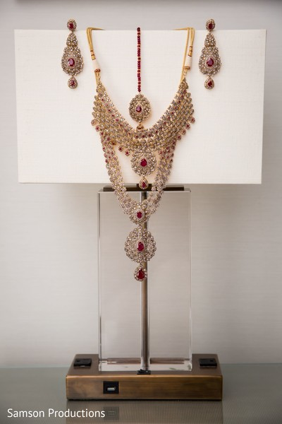 A necklace and an earring pair to be used by the Indian bride