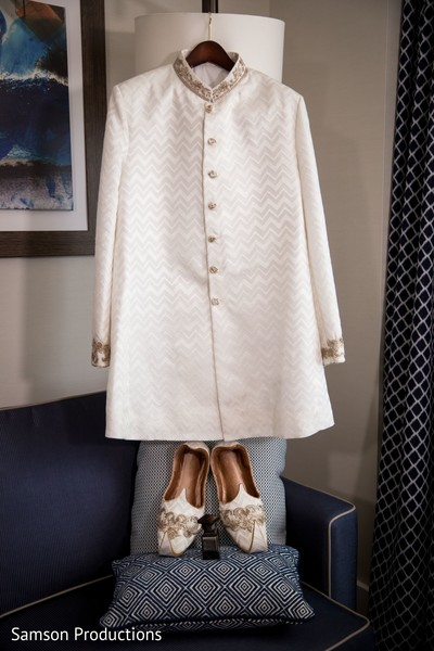 Sherwani and shoes to be worn by the Indian groom