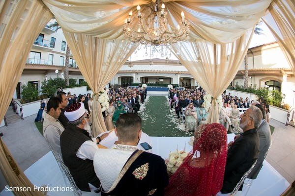 A take of the wedding yard during the ceremony