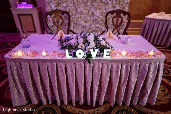 Romantic indian wedding sweetheart table.
