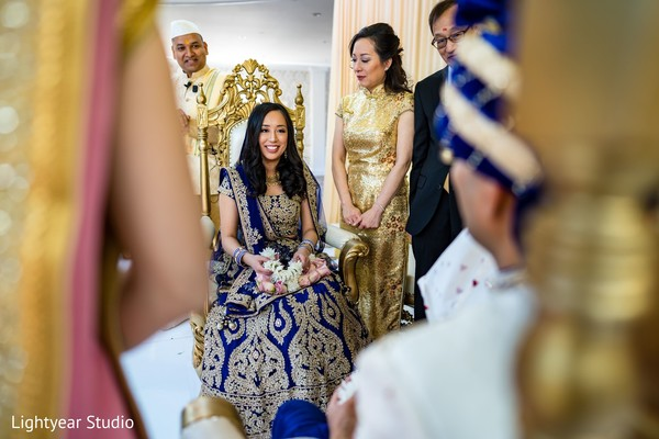 Indian bride seeing  her raja for the first time.