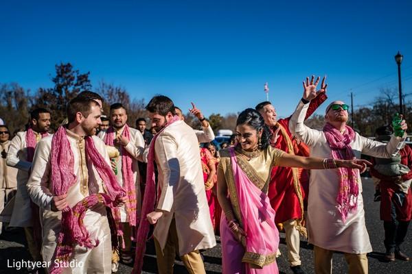 Baraat procession dance capture.