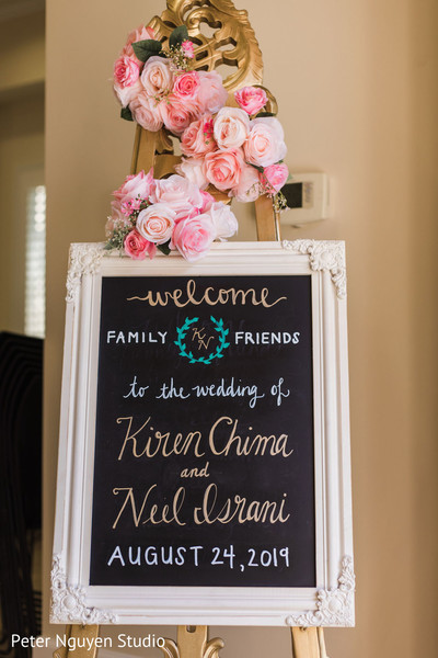 Indian wedding Chalk board welcome sign decoration.