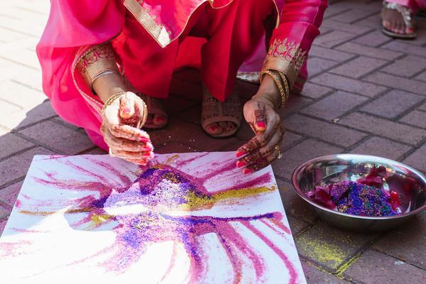 Indian pre-wedding colored powder.