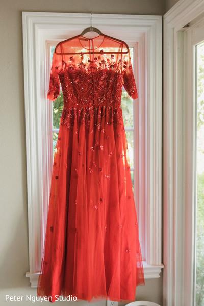 Indian bridal red Anarkali wedding ceremony dress.