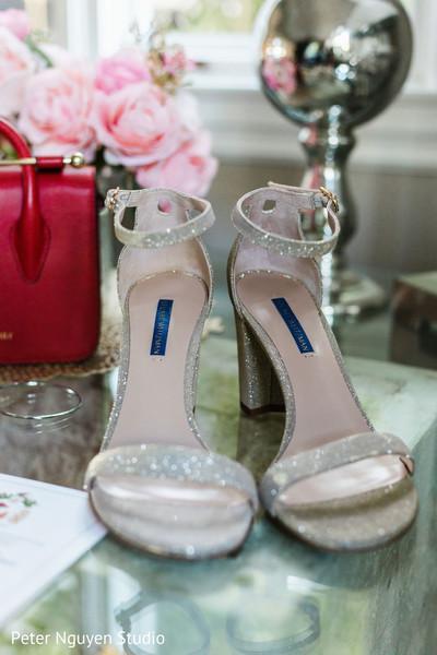 Silver color Indian bridal wedding shoes.
