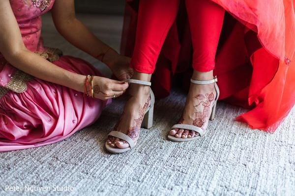 Maharani getting her wedding shoes on.