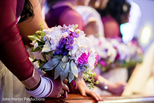 Closeup capture of maharanis white and purple flowers bouquet.