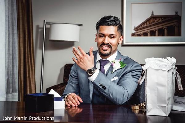 Raja wearing maharanis watch wedding present.