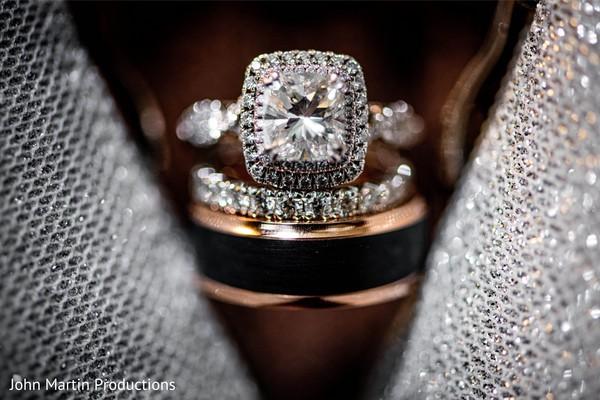 Indian wedding  white diamonds and yellow gold wedding rings.