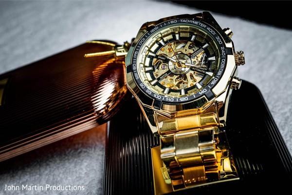 Gold Indian groom' wedding watch.