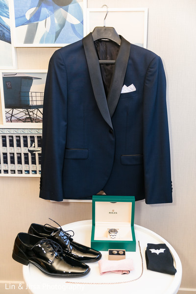 The suit and accessories to be worn by the Indian groom