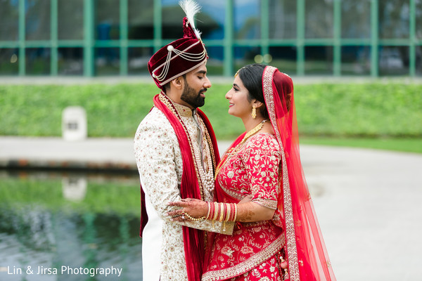 Indian couple staring into each other eyes