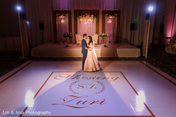 White and golden Indian Wedding personalized dance floor .