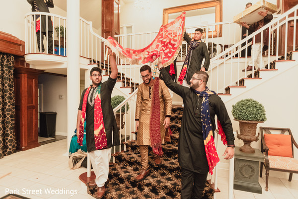 Indian groom making his entrance to Sangeet party.
