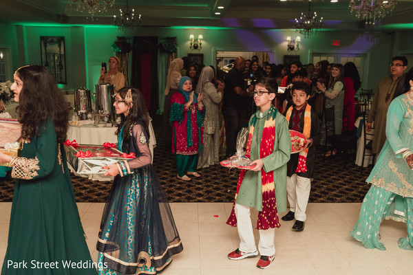 Indian pre-wedding gifts entrance ritual.