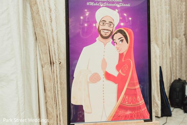 Indian wedding couple cartoon sigh.