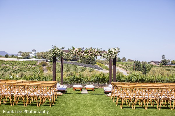 Indian wedding ceremony outdoors setup and decor.