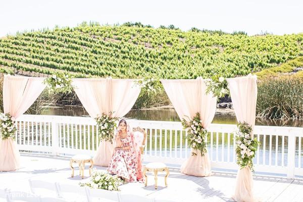 Indian bridal alone on mandap